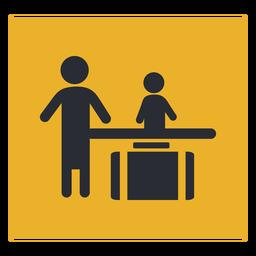 Signo de icono de recepción de facturación de equipaje