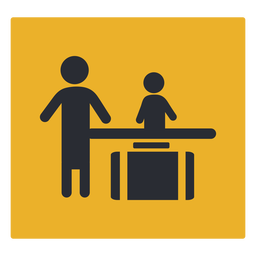 Verificación de equipaje icono de recepción firmar