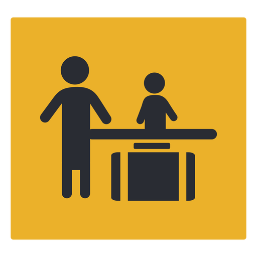 Luggage check front desk icon sign