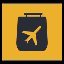 Signo de icono de viaje de avión de equipaje