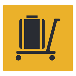 Luggage trolley icon sign