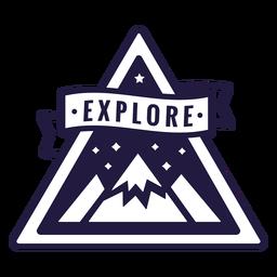 Montanha explorar emblema de triângulo de acampamento