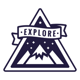 Mountain explore camping triangle badge