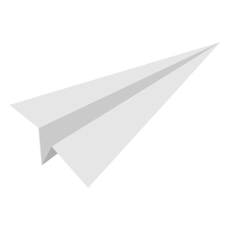 Narrow angled paper airplane flat