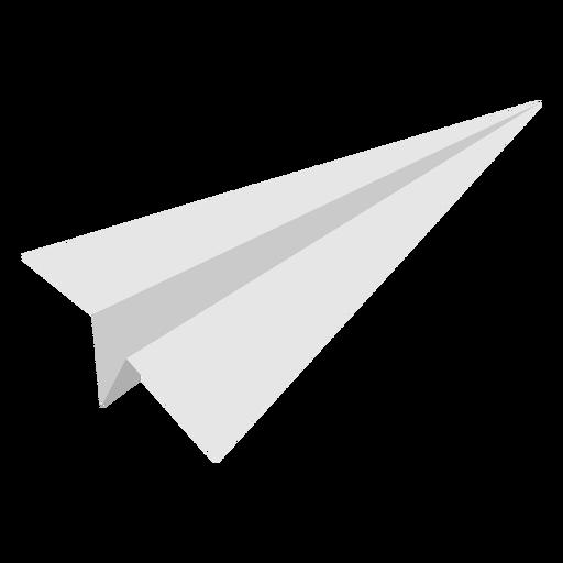 Avión de papel en ángulo estrecho plano