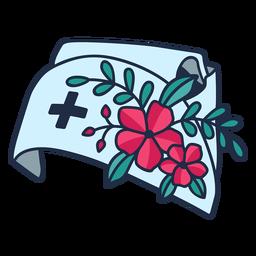 Enfermera flor rama sombrero azul