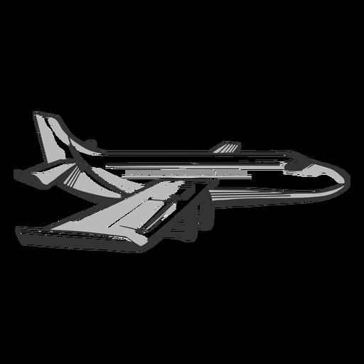 Passenger airplane profile outline