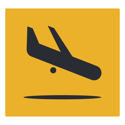 Signo de icono de llegada de avión