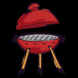 Tampa vermelha para churrasco aberta