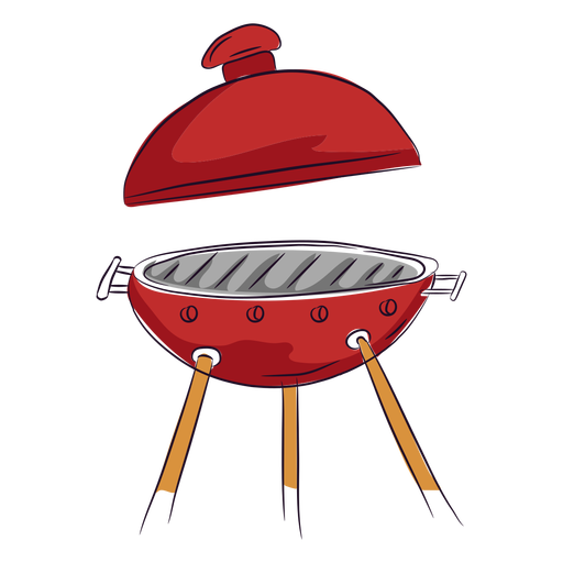 Red bbq grill lid open