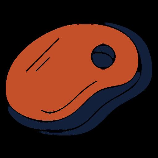 Icono de bistec duotono azul rojo plano