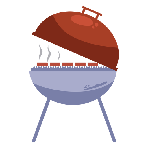 Red gray grill open lid flat Transparent PNG