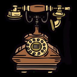Teléfono rotatorio clásico retro dibujado a mano