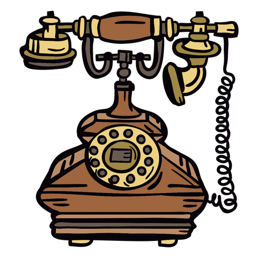 Retro hand drawn classic rotary phone Transparent PNG