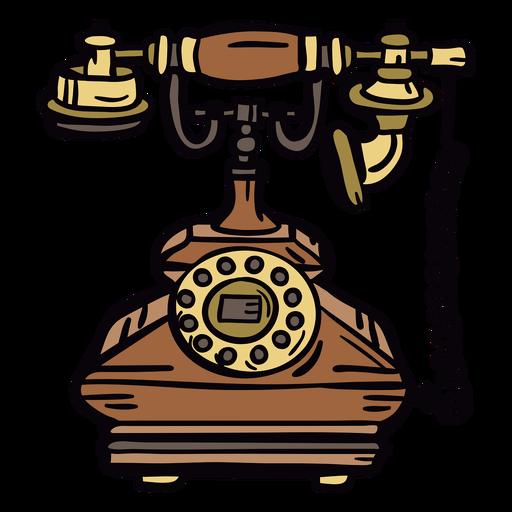 Telefone giratório clássico desenhado à mão retrô