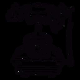 Retrô mão desenhada contorno clássico telefone rotativo