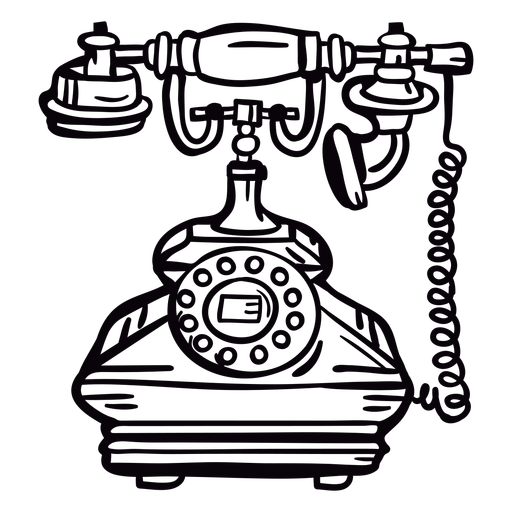 Retro hand drawn classic rotary phone outline Transparent PNG