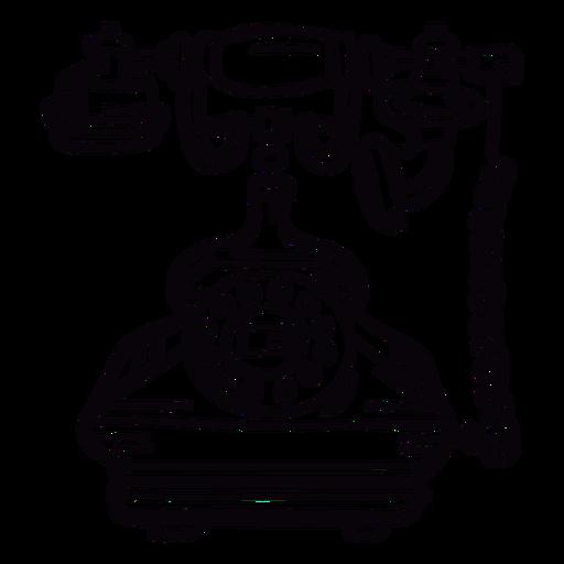Retro hand drawn classic rotary phone outline