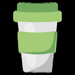 Ilustração plana verde de caneca de café reutilizável