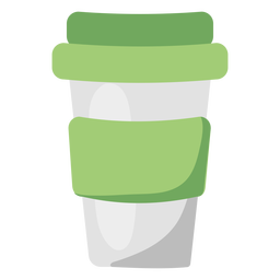 Reusable coffee mug green flat illustration