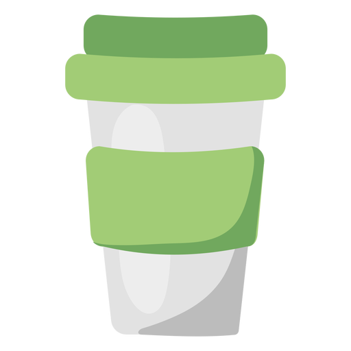 Ilustración plana verde taza de café reutilizable