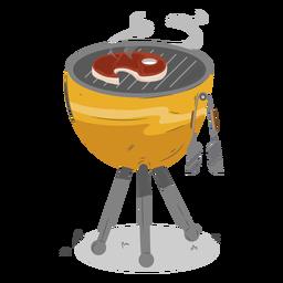 Stellen Sie den runden Grill auf