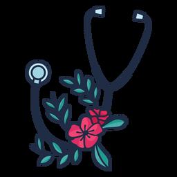 Estetoscópio, flor, folhas, símbolo