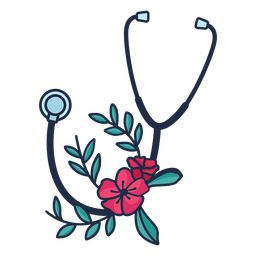 Stethoscope flower leaves symbol