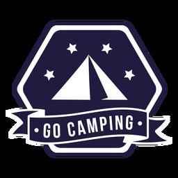 Carpa ir a acampar acampar insignia hexagonal