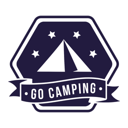 Tent go camping camping hexagon badge