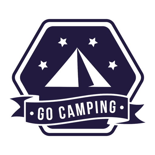 Tent go camping camping hexagon badge