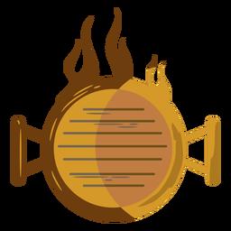 Vista superior parrilla en llamas