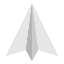 Top angled paper airplane flat