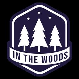 Árvore no bosque emblema do hexágono de acampamento