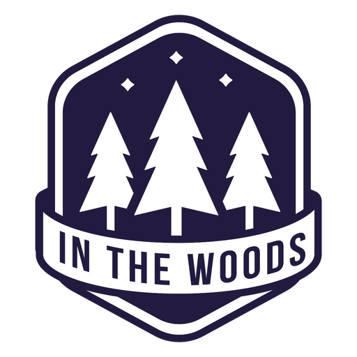 Trees in woods camping hexagon badge