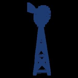 Silhueta da torre do moinho de vento da turbina azul