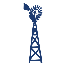 Turbine windmill tower silhouette blue