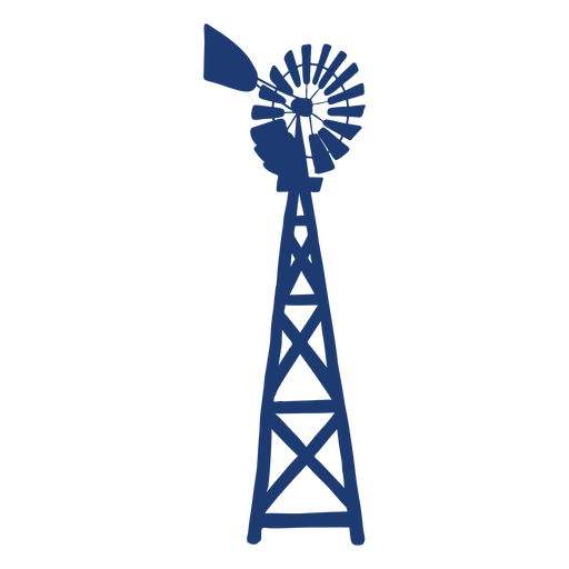 Turbine windmill tower silhouette blue