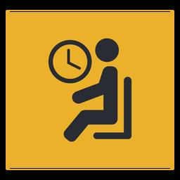 Sala de espera sentado signo de icono de reloj