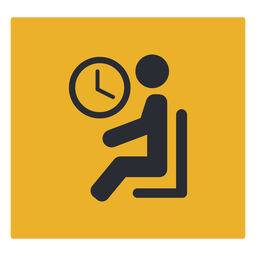 Waiting room sitting clock icon sign