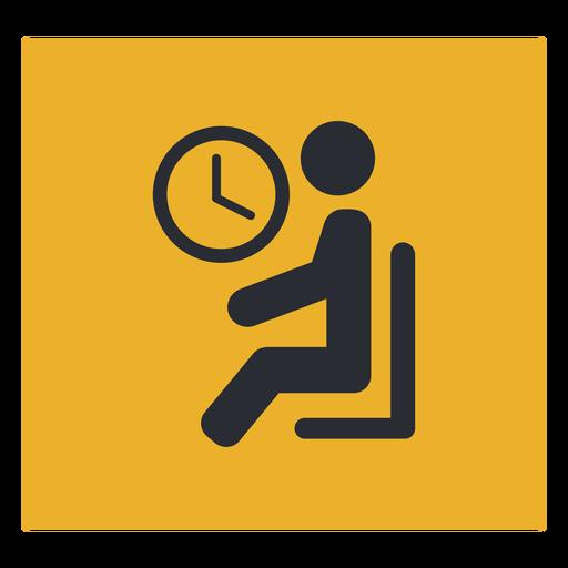 Sala de espera sentado icono de reloj signo