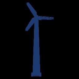 Silhueta da torre da turbina eólica azul