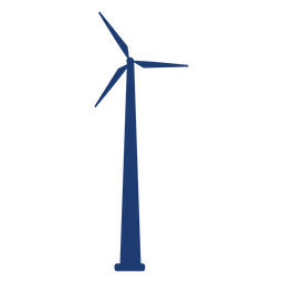 Wind turbine tower silhouette blue