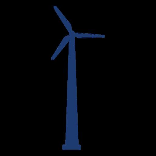 Wind turbine tower silhouette blue