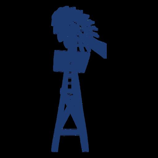 Windmill backyard turbine tower silhouette blue