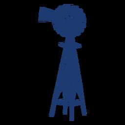 Silhueta da torre da turbina do moinho de vento azul