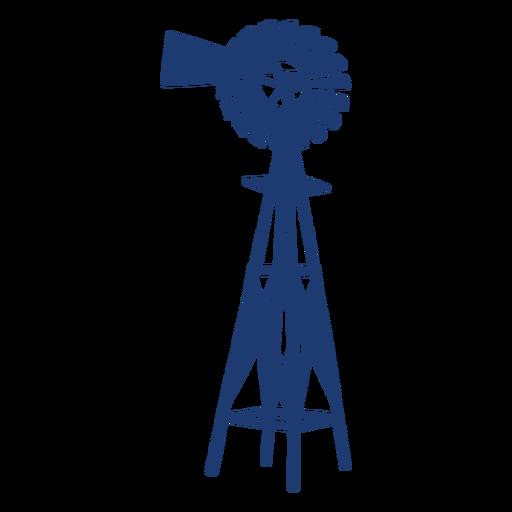 Windmill turbine tower silhouette blue