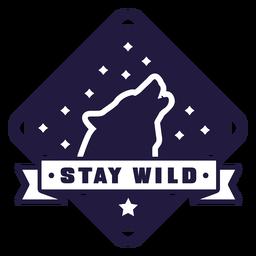 Uivo lobo ficar selvagem emblema de diamante de acampamento