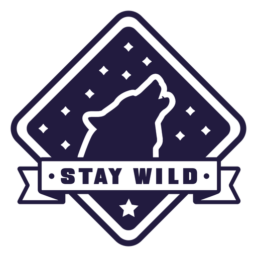 Wolf howl stay wild camping diamond badge Transparent PNG