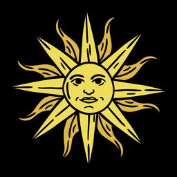 Mão de arte do sol Uruguai desenhada